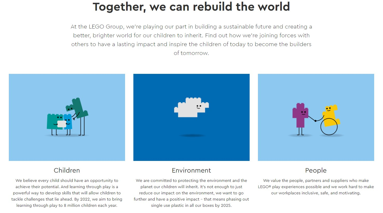 Example of work - writing sustainability content for The LEGO Group
