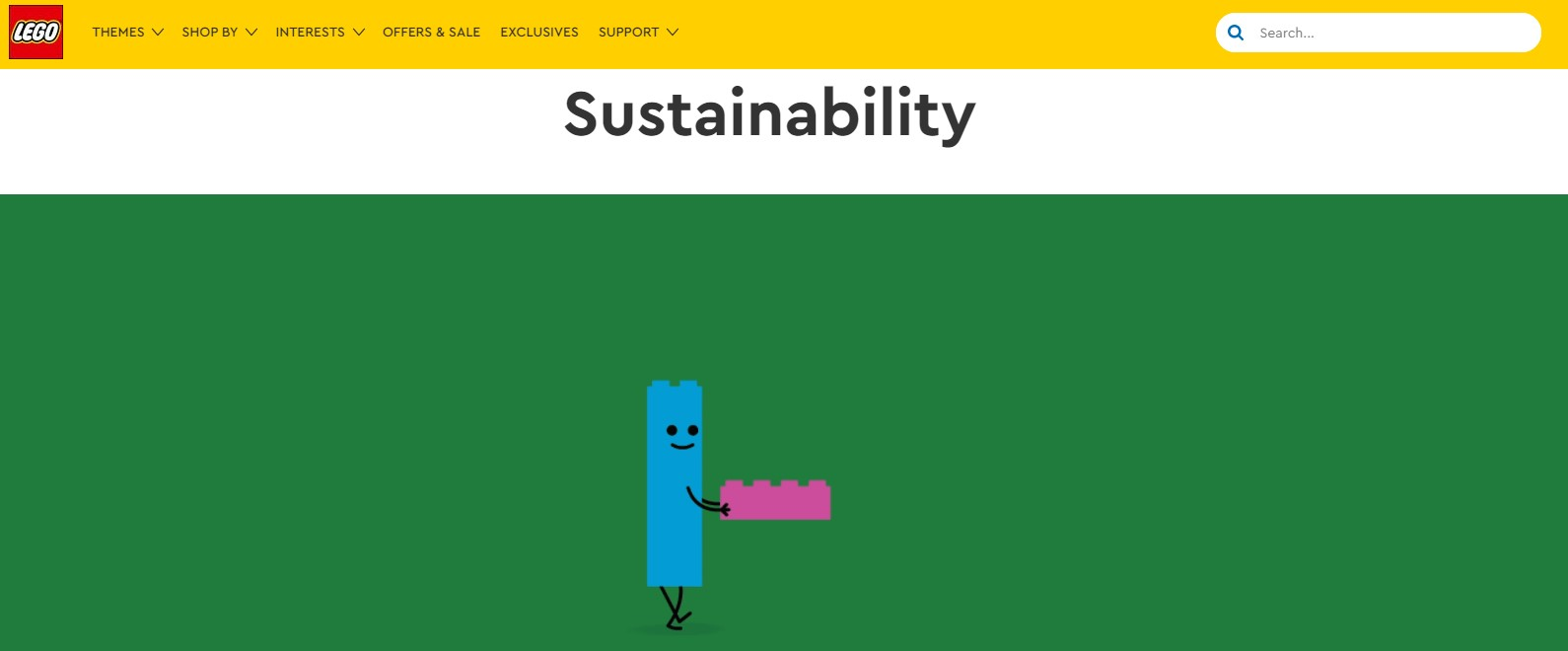 Example of work - writing the sustainability website for The LEGO Group