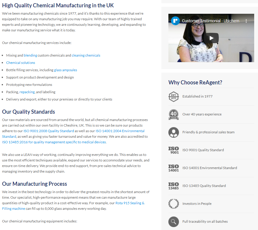 ReAgent Chemical Manufacturing page - an example of SEO copywriting