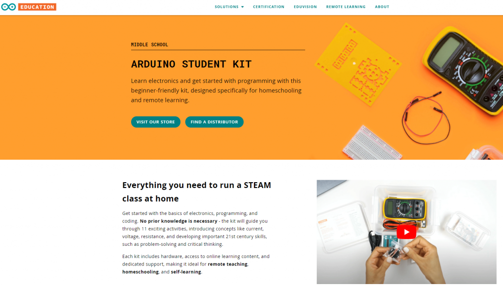 Web copywriting example - Arduino Education solutions pages