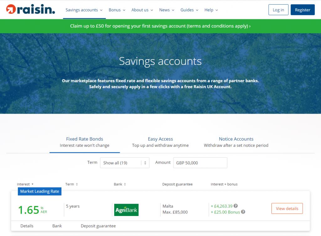Web copywriting example - Raisin UK product pages